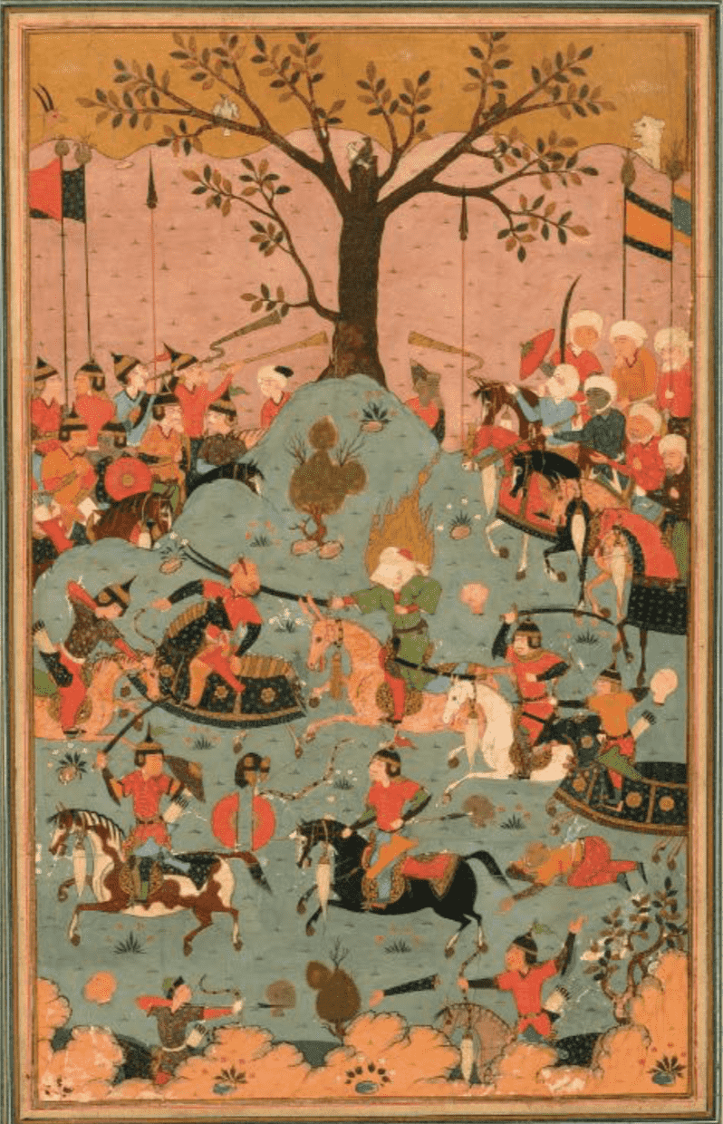 Bataille de Siffin en 657 entre le calife Omeyyade Muawiya et le calife Ali, illustration persane safavide 151