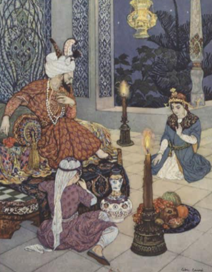 Shéhérazade, avec sa petite soeur Dunyâzad, contant une histoire au sultan Chahriar. llustration de Léon Carré, décoration et ornements de Racim Mohammed Paris H. Piazza 1926 1929 © BNF