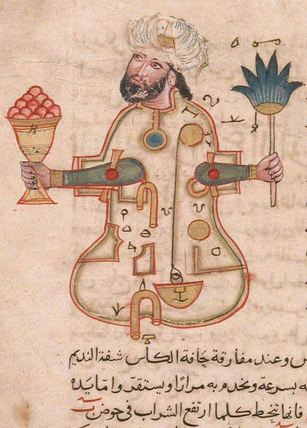 Automate humanoide par Al-Jazari (1136-1206) The Book of Knowledge of Ingenious Mechanical.The Topkapi Palace Museum, Istanbul